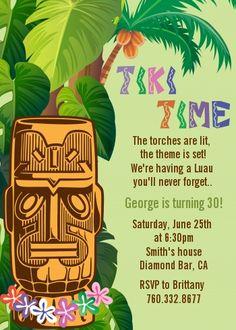Luau Tiki Birthday Party Invitations |