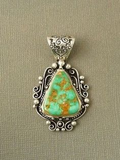 High-Grade Natural Royston Turquoise Gem Pendant for $289.00 | Native American Jewelry