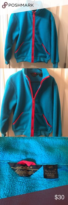 Eddie Bauer vintage fleece Vintage Eddie Bauer fleece in really good condition. Great blue color with red accent. Blue is like a bright ocean blue. Made in USA. Eddie Bauer Jackets & Coats