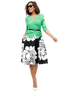 Scuba Circle Skirt - Floral - New York & Company