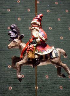 Pam Schifferl Santa on Reindeer Ornament   eBay