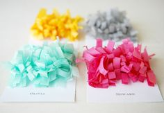 For the frill of it: Colorful, dimensional Fringe Place Cards