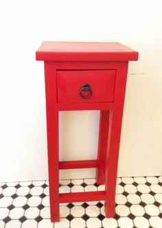 Solid Wood Red Side Table with Drawer $135