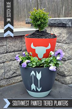 DIY Tiered Planters {With a Little Southwest Flair!} - East Coast Creative Blog