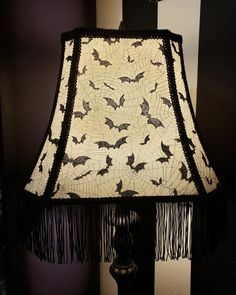 Ivory with Black Bats and Grey Spiderwebs lampshade. Black Trim with Black Fringe Accent. Measures x plus Fringe.Lampshade only. Halloween Items, Vintage Halloween, Bat Silhouette, Black Bat, Gothic Home Decor, Gothic House, Black Trim, Bats, House Styles