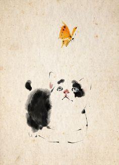 A Summer Afternoon (TZ Zhang) Chat et papillon jaune