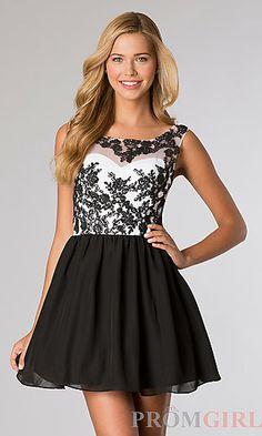 Short Sleeveless Open Back Dress at PromGirl.com