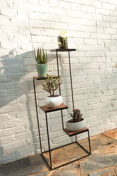 The vertical scale & light weight but strong materials make this a great plant or decor display stand. Minimalist Decor, Minimalist Design, Plant Wall, Steel Frame, Pedestal, Furniture Ideas, Scale, Strong, Display