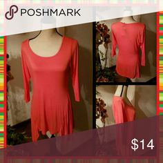 No Comment Coral Fashion Tunic Top Handkerchief hem. Super soft and comfy! No Comment Tops
