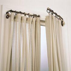 Unique Curtains, Rustic Curtains, Linen Curtains, Hanging Curtains, Rustic Curtain Rods, Farmhouse Curtain Rods, Craftsman Curtain Rods, Ideas For Curtains, Short Curtains Bedroom