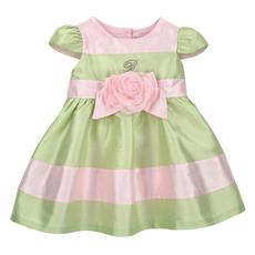 Miss Blumarine - Flower-shaped taffeta and tulle party dress - Light pink and almond green - 117334