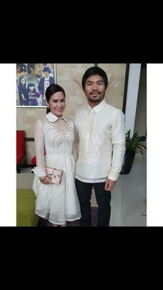 My wedding dress and a traditional Philippine Barong dress. Civil Wedding Dresses, Grad Dresses, Formal Dresses, Lace Dresses, Barong Tagalog For Women, Modern Filipiniana Gown, Fashion 101, Fashion Outfits, Filipino Fashion