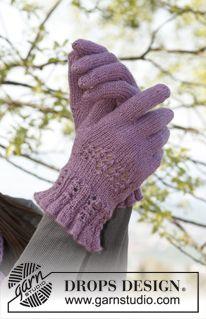 """Set que consiste de: Gorro, bufanda y guantes DROPS tejidos con patrón de calados, en """"BabyAlpaca Silk"""". ~ DROPS Design"""