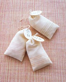 Seating-Card Sacks. Fill with a yummy treat and wa-laah! Perfect favor! :)