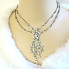 Clear Rhinestone Waterfall Necklace Vintage Dangles by MyVintageJewels on Etsy