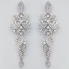 Bling Bridal Jewelry & Earrings.  Long pave floral bridal earrings with vintage flair.  Our favorite from the collection. Also a fabulous earring for formal affairs.