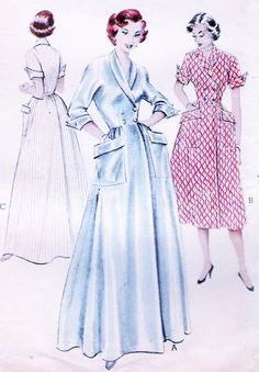 1950s LOVELY Housecoat Brunch Hostess Robe Pattern BUTTERICK 6418 Double Breasted Lounging Coat Bust 32 Vintage Sewing Pattern