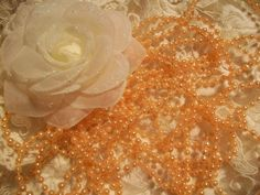 Peach   Pearls  Five  Yards by ShoppeLaFluer on Etsy, $3.00