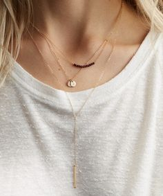 Favorite dainty layering necklaces! 100% 14k Gold Filled, Sterling Silver, or Rose Gold with your choice of gemstone!  by GLDN