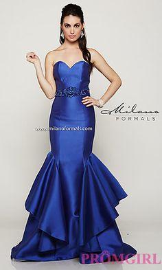 Long Strapless Milano Formal Dress at PromGirl.com