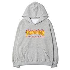 Trasher Hoodie ($58) ❤ liked on Polyvore featuring tops, hoodies, hooded sweatshirt, hooded pullover, cotton hooded sweatshirt, sweatshirt hoodies and hoodie top