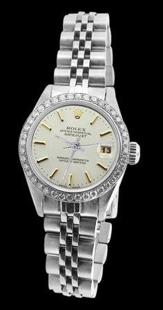 Rolex Datejust Women Watch Stainless Steel Diamond Bezel White.