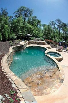 Pool und Spa 31 Pool and Spa Design for Outdoor Decor Pool Spa, Backyard Pool And Spa, Backyard Pool Designs, Swimming Pools Backyard, Swimming Pool Designs, Pool Landscaping, Outdoor Pool, Fun Backyard, Home Pool