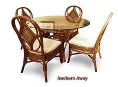 Capris Furniture Model 361 Anchors Away Wicker Dining Room Set