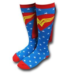 Spring into action with the 68% acrylic 30% polyester 2% spandex Wonder Woman Star Socks w/ Capes! I think the cape part helps one 'spring' into action and I hope in your mind's eye that you hear some kind of sound effect. I went with one from Sega! Wow, that was a bit of a tangent. Well, as you can see the Wonder Woman Star Socks w/ Capes has some power to them but would you expect anything less from the character from DC Comics?<br><br><i><b>Sock Size: 9-11<br>Fits Shoe Size…