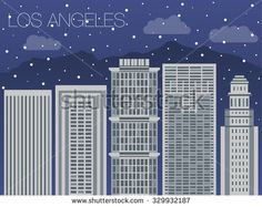 Snow-covered city before holidays in Los Angeles city. Colorful flat style panorama buildings of metropolis. Big city for background of games. Vector flat illustration snow falling in street