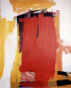 "Harley Red, 1959-60. Franz Kline (1910-1962) was an American painter associated with the abstract expressionist movement centered in NY in the 1940s & 1950s. He was labeled an ""action painter"" because of his seemingly spontaneous and intense style, focusing less on figures or imagery, but on the actual brush strokes & use of canvas. For most of Kline's [mature and representative] work, however, as the phrase goes, ""spontaneity is practiced""."