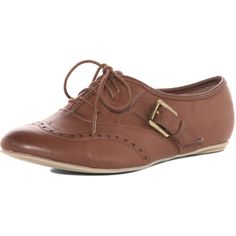 Tan buckle oxford shoes