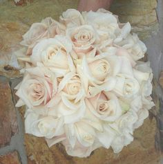 Stunning Wedding Bouquet Arranged Of Ivory, Cream, & Barely Blush Roses~~