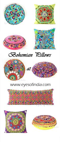Where to Buy Bohemian Pillows, Bolsters Floor pillows! From intricately embroidered pillows to dazzling embroidered cushions, we have just the right boho pillows to fit your decor. Our embroidered pillows are finely crafted by Indian artisans and each embroidered cushion is uniquely designed. Our bohemian pillows will add vibrant color and style to any room. #Bohemian #HomeDecor #BohoPillows