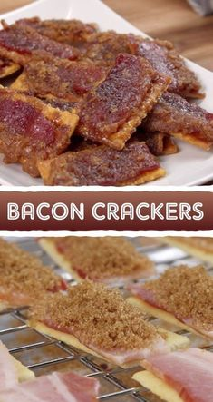 Simply top crackers with bacon and brown sugar, bake, and you have got the best party appetizer, ever! If you like bacon, you are going to love these easy baked bacon crackers. Great finger food for feeding a crowd! #partyfood #bacon #appetizers #fingerfood #instrupix Best Party Appetizers, Best Appetizer Recipes, Snacks Für Party, Finger Food Appetizers, Yummy Appetizers, Snack Recipes, Crackers Appetizers, Appetizer Ideas, Wedding Appetizers