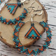 Ring earring, Miyuki pearl, turquoise and orange earring – … - Perlen Schmuck Seed Bead Jewelry, Bead Jewellery, Seed Bead Earrings, Beaded Necklace, Hoop Earrings, Diy Jewelry, Jewelry Making, Jewelry Ideas, Silver Earrings