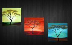"Original Contemporary Abstract Textured Painting.Art Deco.36"".Landscape.Savanna.Trees,Sunrise,Sunset,Moonlight - $125"