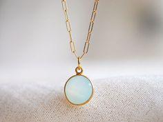 Aqua Chalcedony Gold Bezel pendant necklace by NohoLife on Etsy