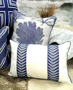 Coastal themed pillows. http://www.aftershocksinteriordecorating.com/interior-decorating-and-design-blog