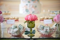 Use vintage pastel pieces for food presentation, candle holders and florals.