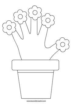 VASO DI FIORI Sagome utili per realizzare con la carta un vaso di fiori da regalare alla vostra mamma per il giorno della sua festa.
