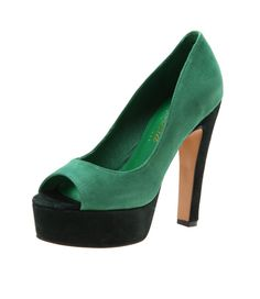 I'm not usually a big fan of the platform heel, but the colour blocking works - Nark Jade/ Forest from Diavolina