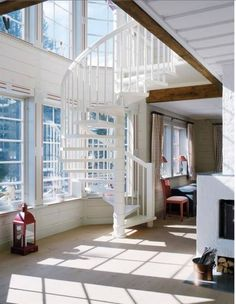 Spiral staircase and love the natural light