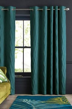Buy Raised Geo Eyelet Curtains from the Next UK online shop Dark Teal Curtains, Peacock Curtains, Curtains Uk, Bay Window Curtains, Elegant Curtains, Curtains With Blinds, Teal Bedroom Curtains, Peacock Bedroom, Curtains Living