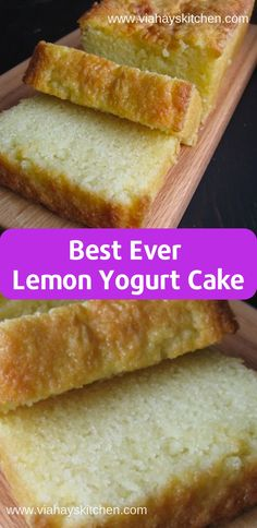 Best Ever Lemon Yogurt Cake Recipe - This Yogurt Cake was moist and had the consistency of a pound cake but was not greasy in the least bit Yogurt Pudding Recipe, Yogurt Pound Cake Recipe, Lemon Pudding Recipes, Lemon Yogurt Cake, Lemon Pudding Cake, Yogurt Dessert, Lemon Dessert Recipes, Yogurt Recipes, Pound Cake Recipes