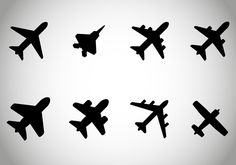 vehicles - Aircraft or Airplane Icons Set for your use Mini Tattoos, Cute Tattoos, Small Tattoos, Tatoos, Aircraft Tattoo, Airplane Icon, Airplane Travel, Airplane Tattoos, Minimal Tattoo