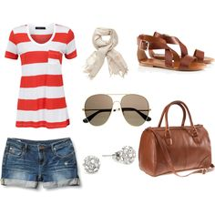 Red stripes. Spring time outfit for a day out shopping.