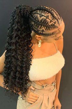 Feed In Braids Hairstyles, Box Braids Hairstyles For Black Women, Braids Hairstyles Pictures, Braided Ponytail Hairstyles, Black Girl Braids, Baddie Hairstyles, Braids For Black Hair, Girls Braids, African Hairstyles