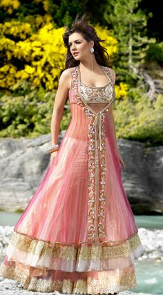 Pretty pink lehenga w/ sheer jacket from Seasons. I have NO idea what a 'lehenga' is, but whatever it is its GORGEOUS! Beauty And Fashion, Asian Fashion, Indian Bridal Wear, Indian Wear, Indian Style, Bollywood Stars, Bollywood Fashion, Indian Dresses, Indian Outfits