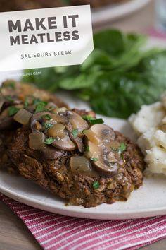 Meatless Imitation Meals - The Oh My Veggies Vegetarian Salisbury Steak Recipe is Chuck-Less Veggie Recipes, Whole Food Recipes, Vegetarian Recipes, Cooking Recipes, Healthy Recipes, Vegetarian Lifestyle, Vegetarian Options, Vegetarian Cooking, Vegetarian Meatloaf